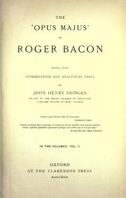 Cover of: The 'Opus majus' of Roger Bacon | Roger Bacon