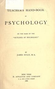 "Cover of: Teacher's handbook of psychology on the basis of the ""Outlines of pschology"""