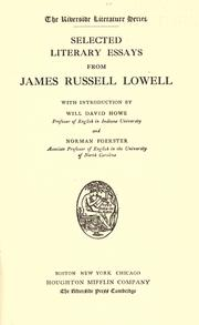 Cover of: Selected literary essays from James Russell Lowell