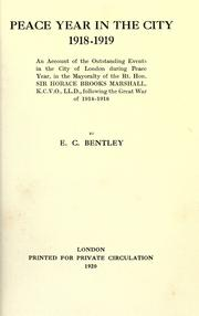 Cover of: Peace year in the City, 1918-1919
