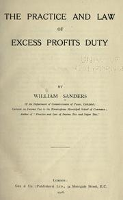 Cover of: The practice and law of excess profits duty