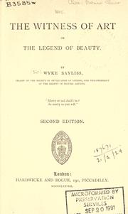 Cover of: The witness of art or, The legend of beauty