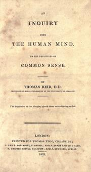 An inquiry into the human mind on the principles of common sense by Reid, Thomas