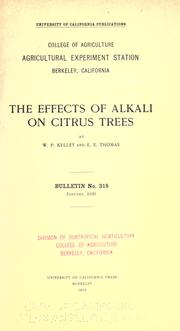 Cover of: The effects of alkali on citrus trees