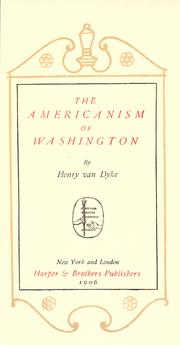 Cover of: The Americanism of Washington