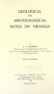 Geological and archaeological notes on Orangia