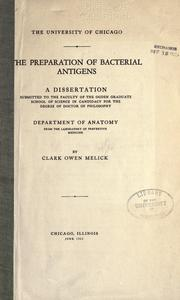 Cover of: The preparation of bacterial antigens ..