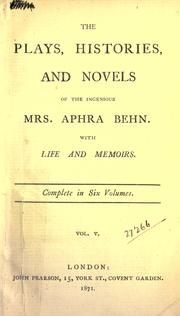 Cover of: Plays, histories, and novels