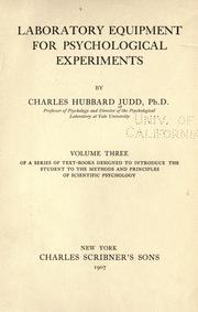 Cover of: Laboratory equipment for psychological experiments