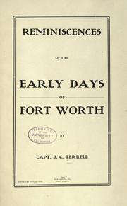 Cover of: Reminiscences of the early days of Fort Worth