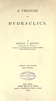 Cover of: A treatise on hydraulics by Bovey, Henry T.