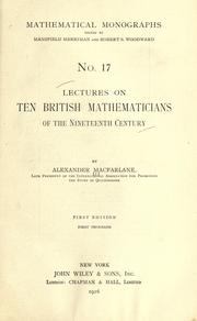 Cover of: Lectures on ten British physicists of the nineteenth century