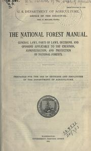 The national forest manual by United States. Forest Service.