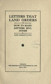 Cover of: Letters that land orders