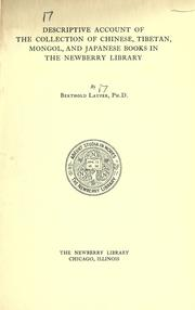 Descriptive account of the collection of Chinese, Tibetan, Mongol, and Japanese books in the Newberry Library by Newberry Library