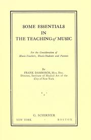 Some essentials in the teaching of music