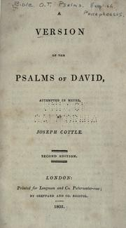 Cover of: A version of the Psalms of David