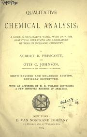 Cover of: Qualitative chemical analysis