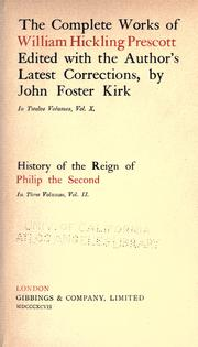 Cover of: History of the reign of Philip the Second