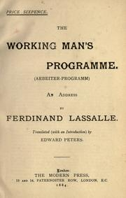 Cover of: The working man's programme
