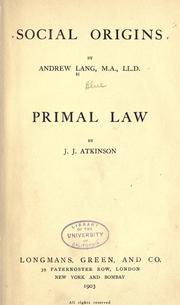 Cover of: Social origins: Primal Laws