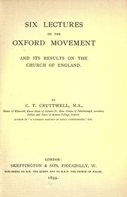 Cover of: Six lectures on the Oxford movement