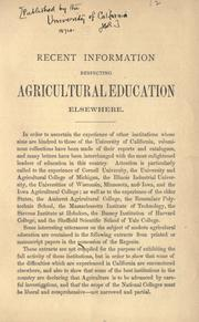 Cover of: Recent information respecting agricultural education elsewhere