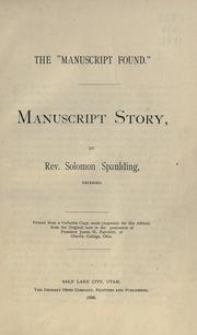 "Cover of: The ""manuscript found."""
