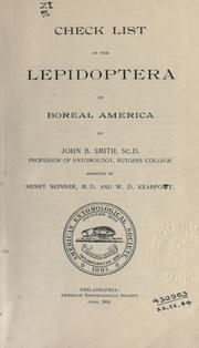 Cover of: Check list of the Lepidoptera of Boreal America