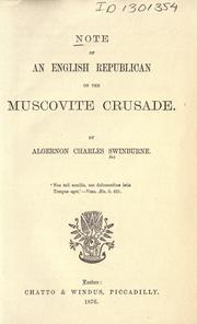 Cover of: Note of an English republican on the Muscovite crusade