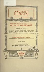 Cover of: Ancient history from the earliest times to the fall of the Western Empire
