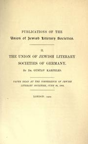 Cover of: The Union of Jewish Literary Societies of Germany