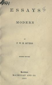 Essays, modern by Frederic William Henry Myers