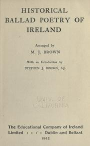 Historical ballad poetry of Ireland by M. J. Brown