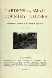 Cover of: Gardens for small country houses by Gertrude Jekyll