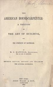 The American house carpenter by R. G. Hatfield