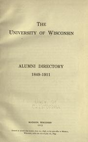 Cover of: Alumni directory, 1849-1911