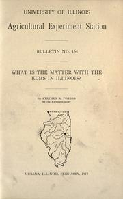 Cover of: What is the matter with the elms in Illinois?