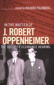 Cover of: In the Matter of J. Robert Oppenheimer