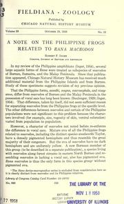 Cover of: A note on the Philippine frogs related to Rana macrodon