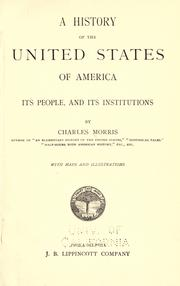 Cover of: A history of the United States of America: its people, and its institutions