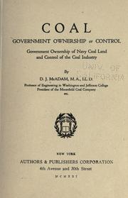 Cover of: Coal, government ownership or control