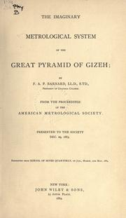 Cover of: The imaginary metrological system of the Great pyramid of Gizeh