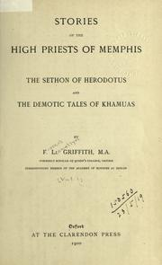 Cover of: Stories of the High Priests of Memphis: The Sethon of Herodotus and The Demotic Tales of Khamuas