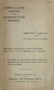 Cover of: A simple and sure solution of the transportation problem