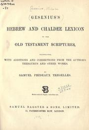 Cover of: Hebrew and Chaldee lexicon to the Old Testament Scriptures by Wilhelm Gesenius