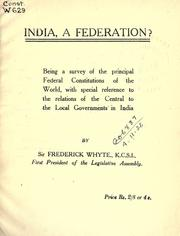 Cover of: India, a federation?