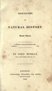 Cover of: Researches in natural history | Murray, John