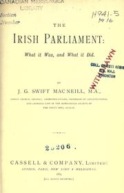 The Irish Parliament by J. G. Swift MacNeill