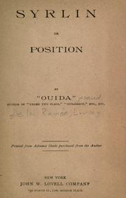 Cover of: Syrlin or position